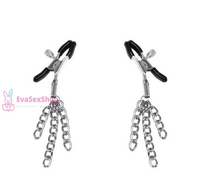 Зажимы для сосков с кисточками Feral Feelings Nipple clamps Tassels, серебро/черный