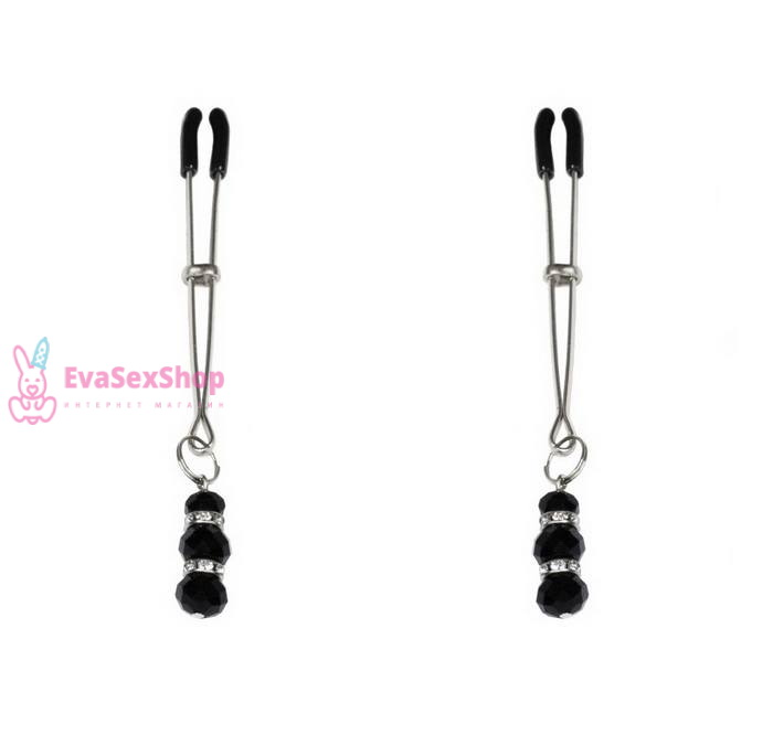 Тонкие зажимы для сосков с подвеской Feral Feelings Thin nipple clamps, серебро/черный