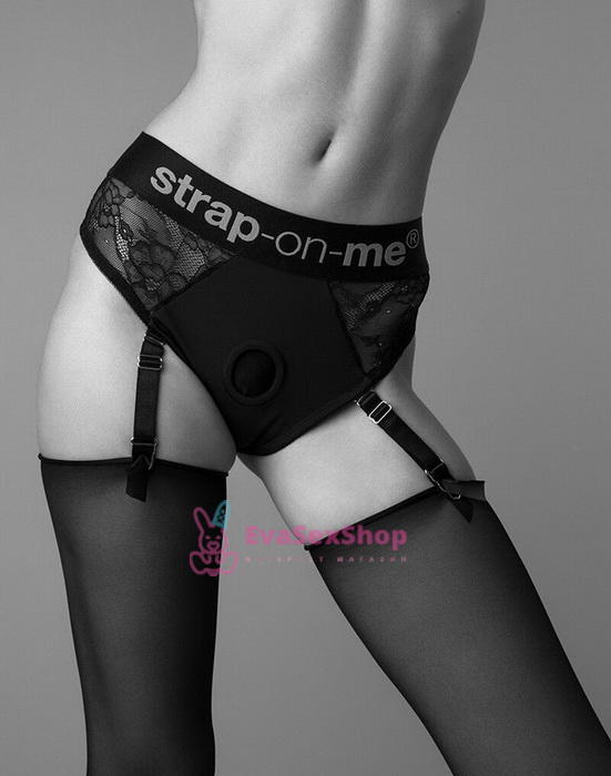 Кружевные трусы для страпона с подвязками для чулок Strap-On-Me Diva Harness M