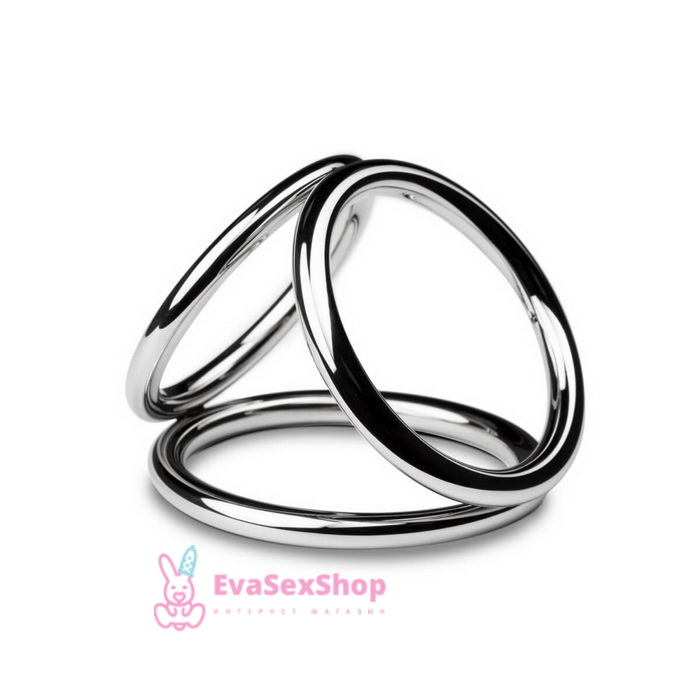 Тройное эрекционное кольцо Sinner Gear Unbendable Triad Chamber Metal Cock and Ball Ring Medium