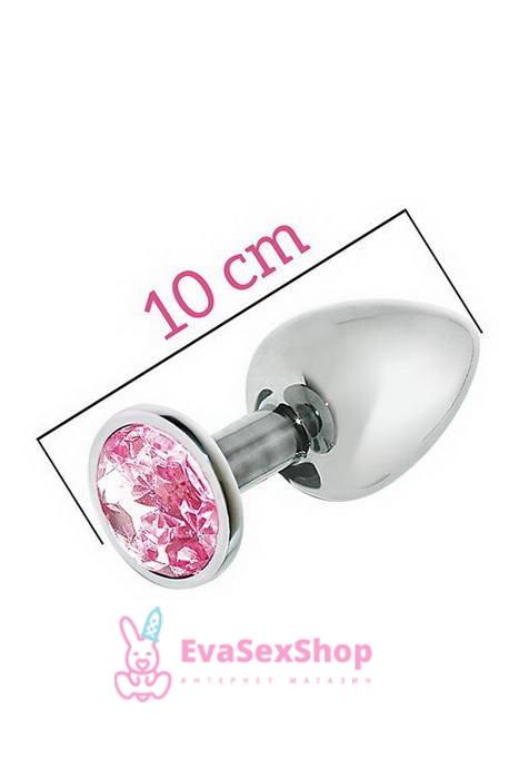 Металлическая анальная пробка с розовым кристаллом MAI Attraction Toys №74