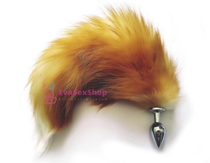 Шикарный анальный лисий хвост со съемной пробкой
